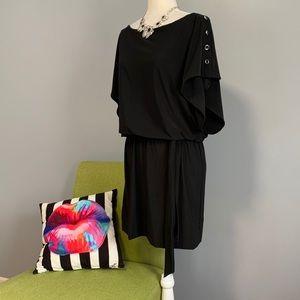 WHBM Black Blouson Button Draped Dress